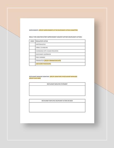 Restaurant Disciplinary Notice Form Template