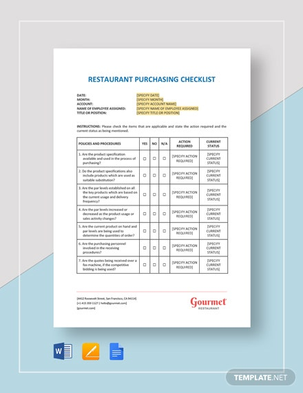 Restaurant Purchasing Checklist Template