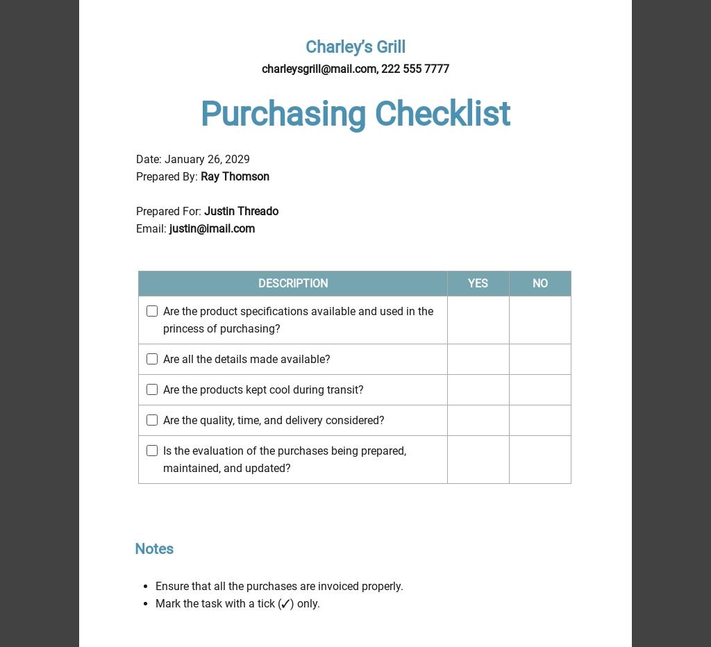 Restaurant Purchasing Checklist Template