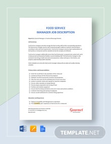 Food Service Manager Job Description Template