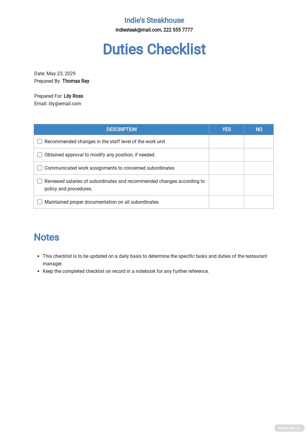 Restaurant Routine Managerial Duties Checklist Template