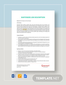 Bartender Job Description Template