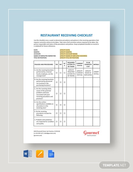 Restaurant Receiving Checklist Template