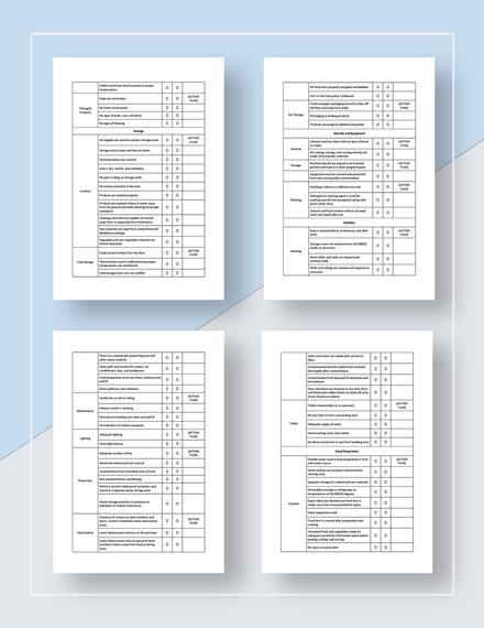 Restaurant Food Safety Checklist Download