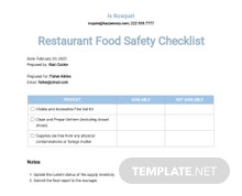 Restaurant Food Safety Checklist Template