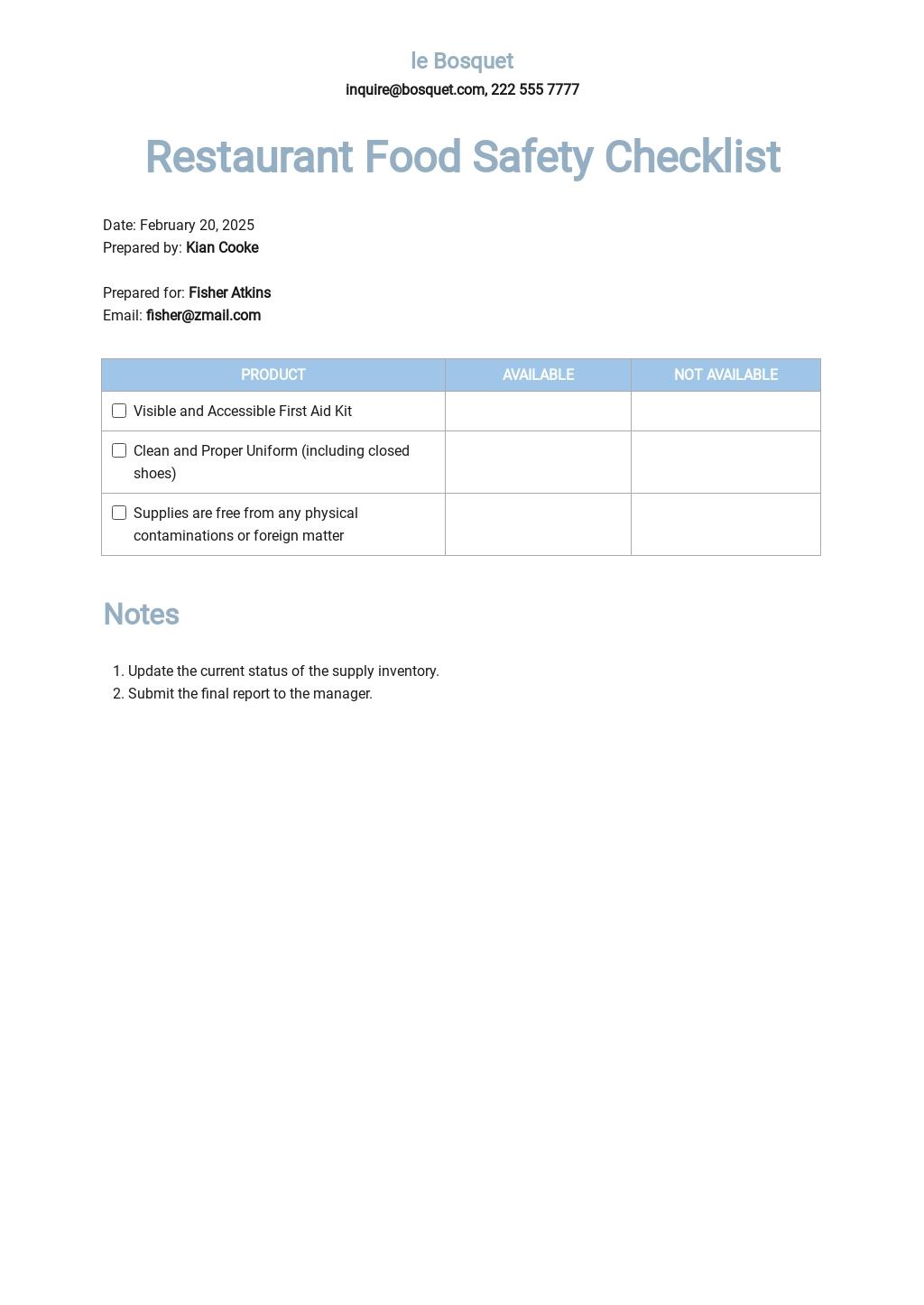 Restaurant Food Safety Checklist Template.jpe