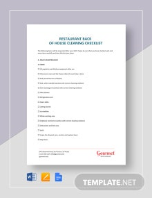Restaurant Back of House Cleaning Checklist Template