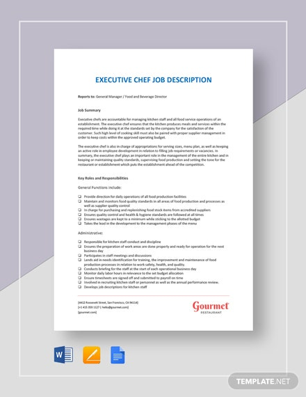 Executive Chef Job Description Template