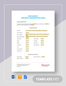 Restaurant Employee Information Form Template