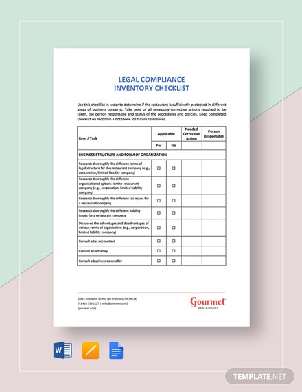 Restaurant Legal Compliance Inventory Checklist Template