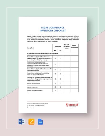 Restaurant Legal Compliance Inventory Checklist Template