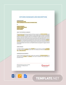 Kitchen Manager Job Description Template
