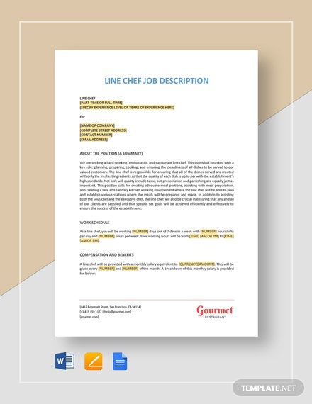Line Chef Job Description Template