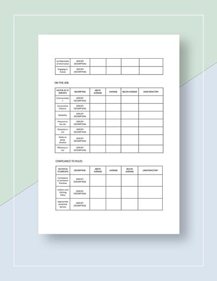 Restaurant Employee Performance Feedback Form Download