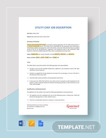 Utility Chef Job Description Template