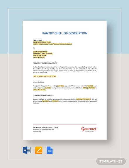 Pantry Chef Job Description Template