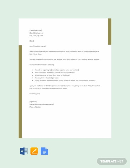 Free Agency Offer Letter Template