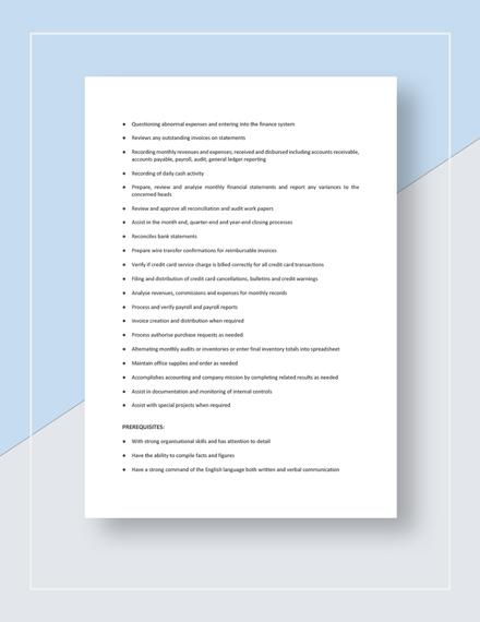 Accountant Job Description Template