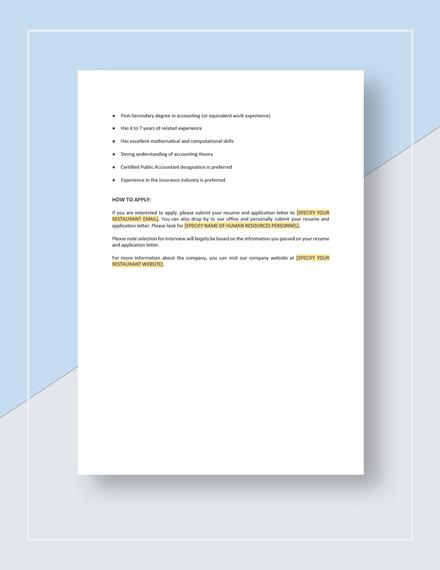 Sample Accountant Job Description