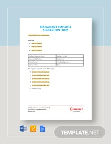 Restaurant Employee Suggestion Form Template