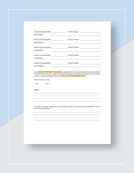 Restaurant Employee Complaint Form Template