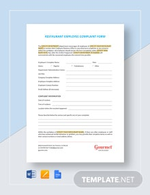Restaurant Employee Complaint Form Template