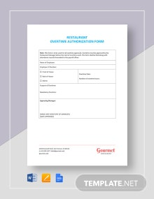 Restaurant Overtime Authorization Form Template