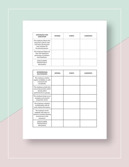 Restaurant Employee Appraisal Form Download