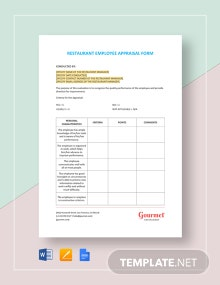 Restaurant Employee Appraisal Form Template
