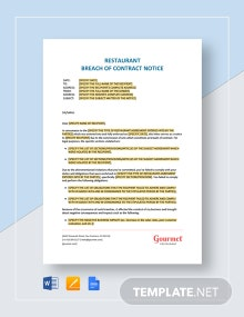 Restaurant Breach of Contract Notice Template