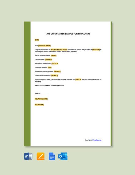 Free Job Offer Letter Sample For Employers Template