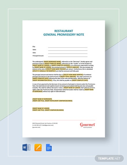 restaurant general promissory note template  download 0