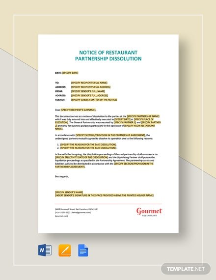 Notice of Restaurant Partnership Dissolution Template