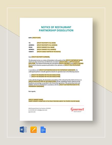 Notice of Restaurant Partnership Dissolution Template