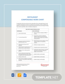 Restaurant Compensable Work Chart Template