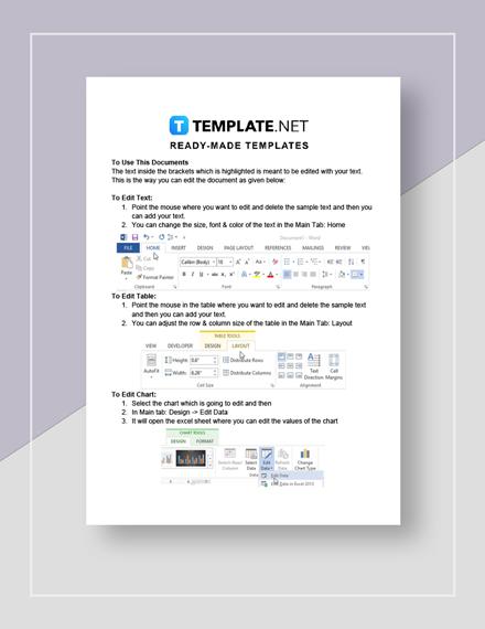 Restaurant  Staffing Guideline Chart Instructions
