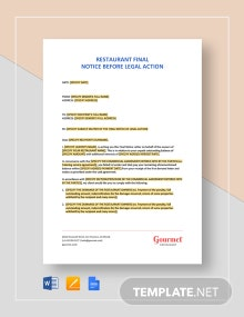 Restaurant Final Notice Before Legal Action Template