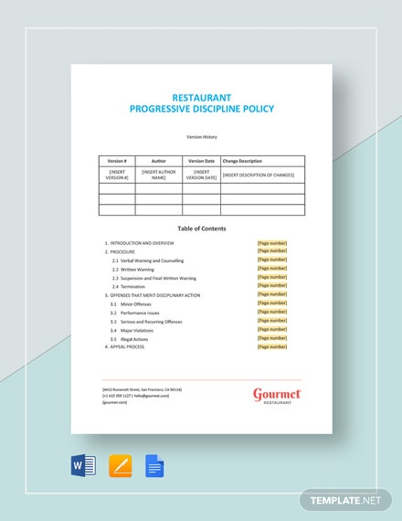 Restaurant Progressive Discipline Policy Template