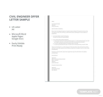 Free Sample Civil Engineer Offer Letter Template