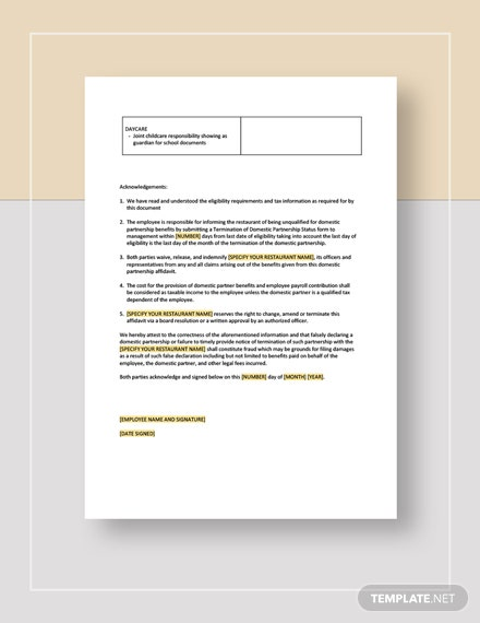 Restaurant Domestic Partnership Affidavit Download