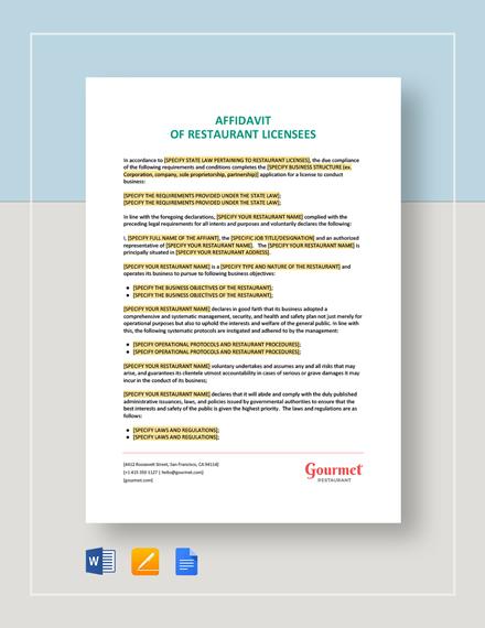 Affidavit of Restaurant Template