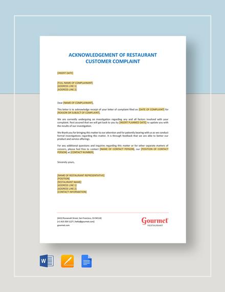 Acknowledgement of Restaurant Customer Complaint