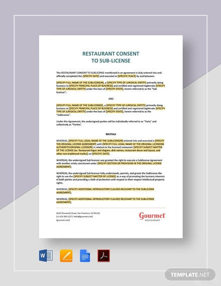 Restaurant Consent to Sub-License Template