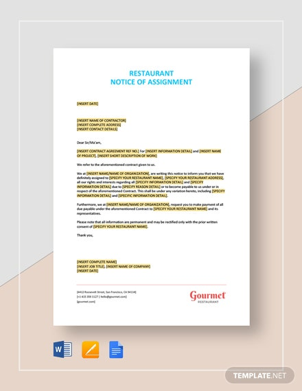 Restaurant Notice of Assignment Template