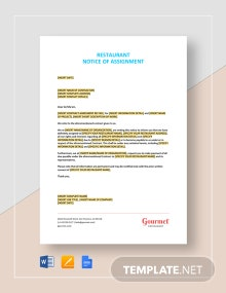 Restaurant Notice of Assignment Template