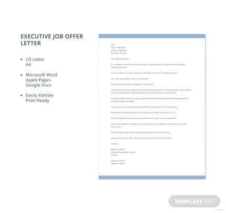 free executive job offer letter template download 700 letters in