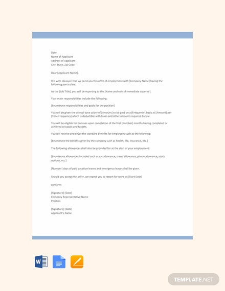 Free Executive Job Offer Letter Template