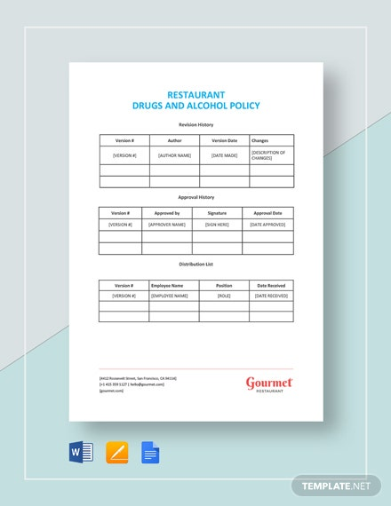 Restaurant Drugs and Alcohol Policy Template