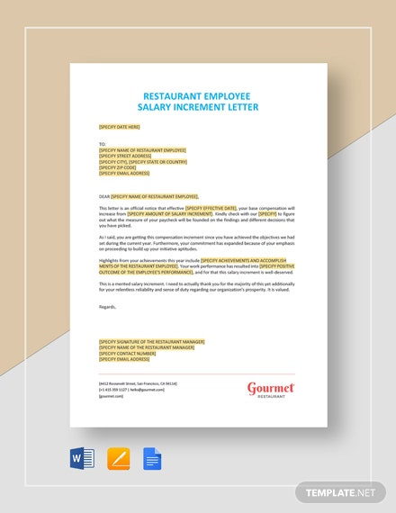 Restaurant Employee Salary Increment Letter