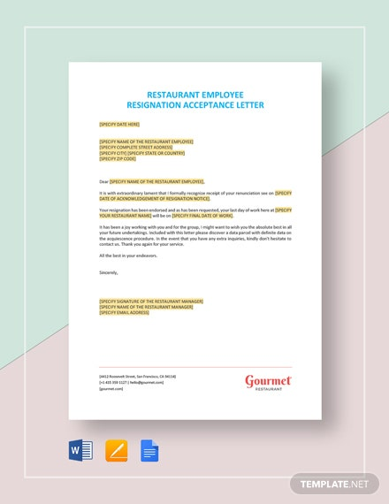 Restaurant Employee Resignation Acceptance Letter Template